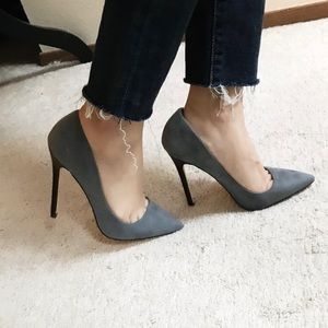 Shoe Dazzle Shoes - Chic Suede Pointed-Toe Grey Pump - 6